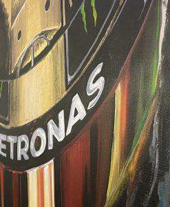 Quadro in acrilico e foglia d oro Lewis Hamilton 140x90cm 1