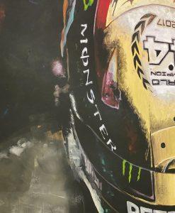 Quadro in acrilico e foglia d oro Lewis Hamilton 140x90cm