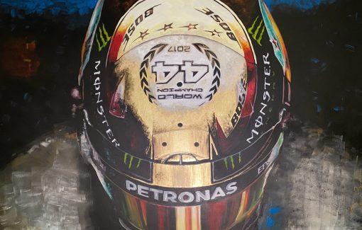 Quadro in acrilico e foglia d oro Lewis Hamilton 140x90cm 3 scaled