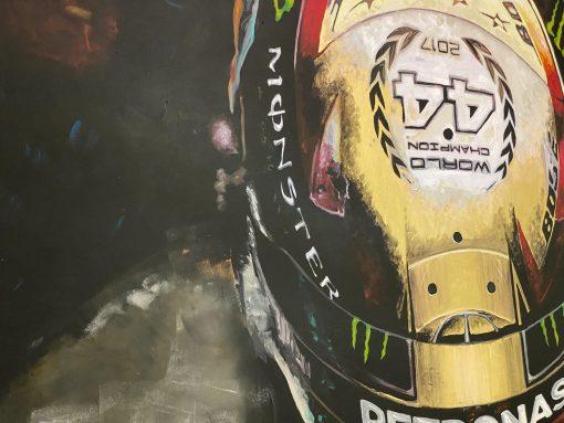 Quadro in acrilico e foglia d oro Lewis Hamilton 140x90cm scaled