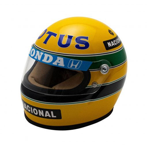 Mini Helmet Ayrton Senna Formula Uno 1987 Lotus scala 12 fronte