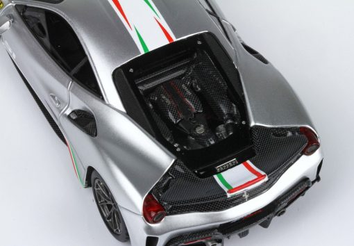 BBR 143 Ferrari 488 Pista Piloti Ferrari Argento Nurburgring DETTAGLIO